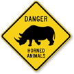 Danger Horned Animals Xing Sign