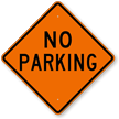 Diamond-Shaped No Parking Sign