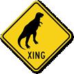 Dinosaur Xing Crossing Sign