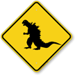 Dinosaur Crossing Symbol Sign