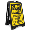 Dog And Horse Crossing Sidewalk Sign