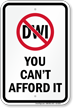 DWI Prohibited, Can't Afford, Driving While Intoxicated Sign