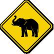Elephant Crossing Warning Sign