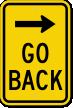 Go Back Right Arrow Sign