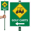 Golf Carts Sign with Left Arrow