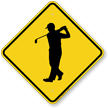 Golfer Crossing Symbol Sign