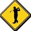 Golfer Crossing Symbol Sign