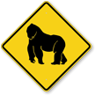Gorilla Crossing Symbol Sign
