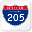 California Interstate 205 Sign