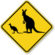 Kangaroo with Joey Crossing Sign