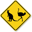 Kangaroo And Ostrich Crossing Sign