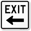 Exit (left arrow) Aluminum Parking Sign