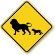 Lion with Cub Crossing Sign