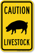 Livestock Caution Sign, Pig Silo Symbol