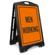 Men Working Portable Sidewalk Sign