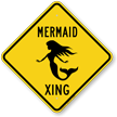 Mermaid Xing Symbol Crossing Sign