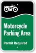 Motorcycle Parking Area Permit Required Sign