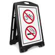 No Bicycle And Smoking Symbol Sidewalk Sign