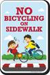No Bicycling on Sidewalk