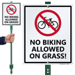 No Biking Allowed On Grass Sign
