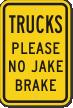 Please No Jake Brake Truck Sign