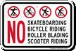 Skateboarding Bicycle Roller Blading Sign