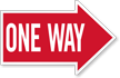 One Way, Right Die-Cut Directional Sign