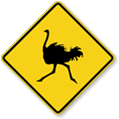 Ostrich Crossing Symbol Sign