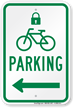 Parking Left Sign with Lock & Bicycle Symbols