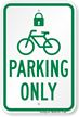 Parking Only with Cycle and Lock Symbol