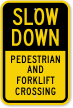 Pedestrian And Forklift Crossing Slow Down Sign
