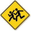 Children Crossing Diamond Shape Sign Symbol