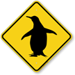 Penguin Symbol Crossing Sign