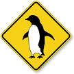 Penguin Walking Symbol Crossing Sign