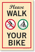 Please Walk Your Bike Sidewalk Sign