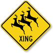 Reindeer Xing Road Sign