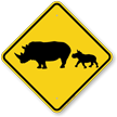 Rhinoceros with Calf Crossing Sign