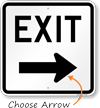 Exit (right arrow) Aluminum Parking Sign