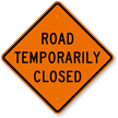 Road Temporarily Closed Warning Sign