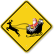 Santa On Sleigh Symbol Crossing Sign