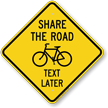 Share The Road Text Later Crossing Sign