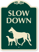 Slow Down Sign With Horse Dog Animals Symbols