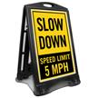 Slow Down Speed Limit 5 MPH Portable Custom Sidewalk Sign