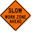 Orange Slow Traffic Sign
