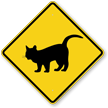 Standing Cat Crossing Symbol Sign