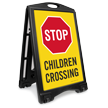 Stop For Children Crossing Sidewalk Sign