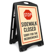 STOP Sidewalk Closed A-Frame Portable Sidewalk Sign Kit