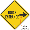 Truck Entrance On Right Diamond-shaped Traffic Sign