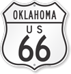 US 66 Oklahoma Route Marker Shield Sign