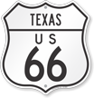 US 66 Texas Route Marker Shield Sign